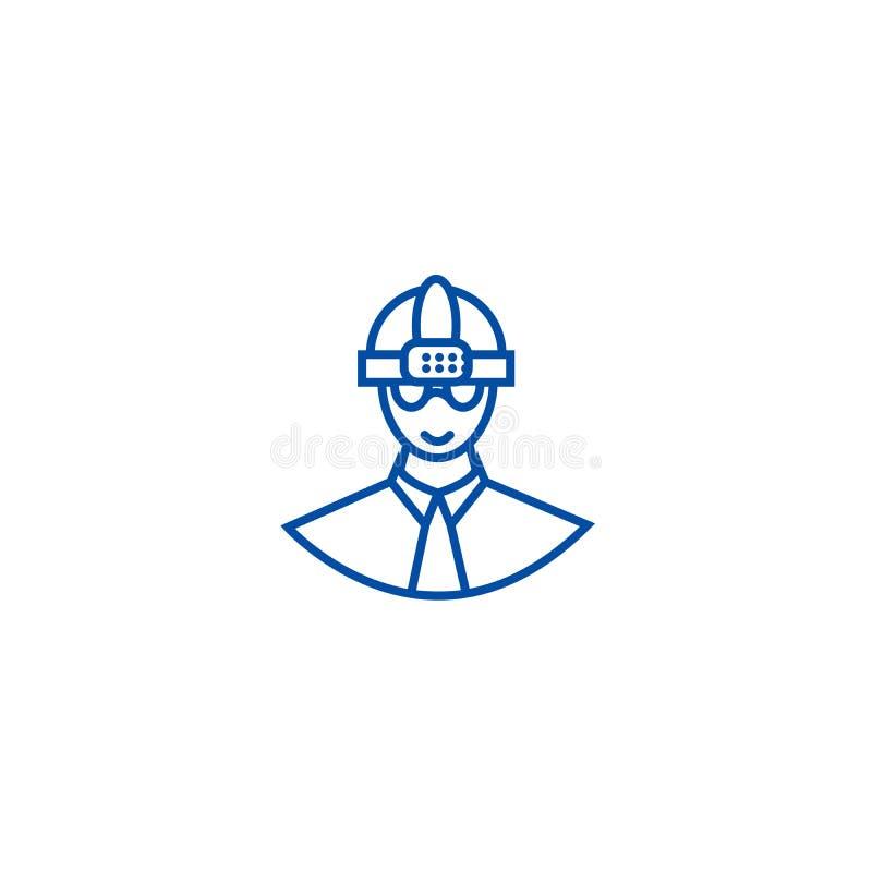 Pracownik z hełm linii ikony pojęciem Pracownik z hełma płaskim wektorowym symbolem, znak, kontur ilustracja royalty ilustracja