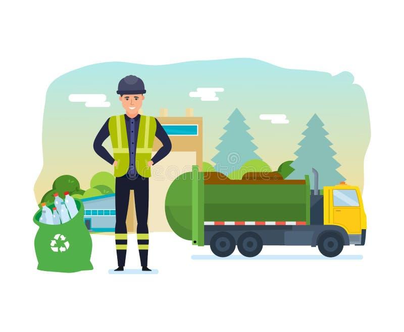 Pracownik zbiera śmieci w śmieciarskiej ciężarówce, bierze on out miasto royalty ilustracja