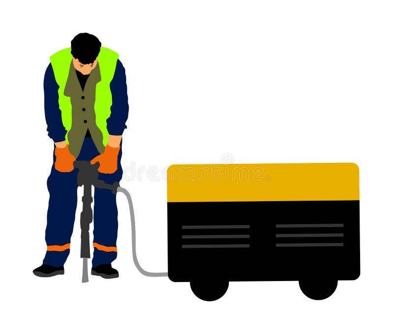 Pracownika budowlanego elektrycznego świderu musztrowania betonu podjazd z jackhammer, ziemia w budowa terenie ilustracji