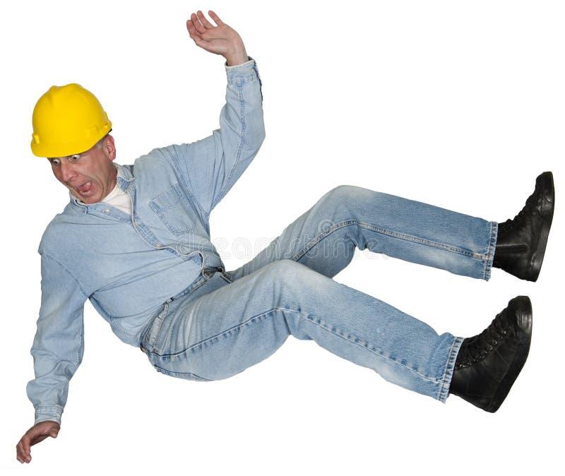 Pracownika Budowlanego kontrahent Spada, wypadek, odizolowywający zdjęcie stock