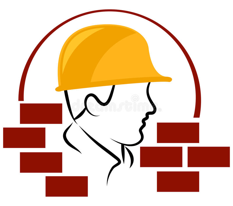 Pracownika budowlanego logo royalty ilustracja
