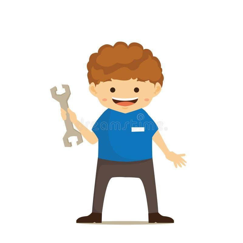 Pracownika charakteru maskotki ilustracja wektor