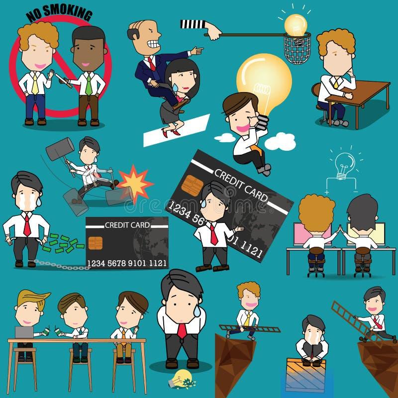 Pracownika charakteru pozy i akci aktywność ilustracja wektor