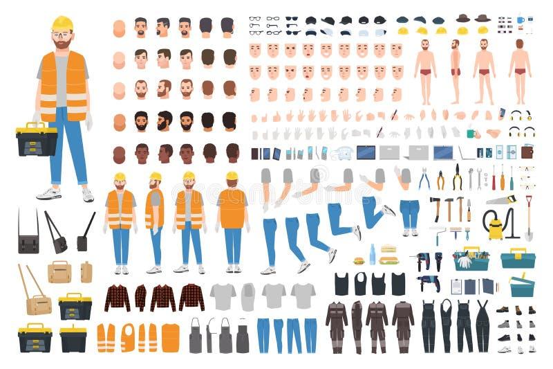 Pracownika lub naprawiacza DIY zestaw Kolekcja męskie postaci z kreskówki części ciałe, wyrazy twarzy, gesty, odziewa royalty ilustracja