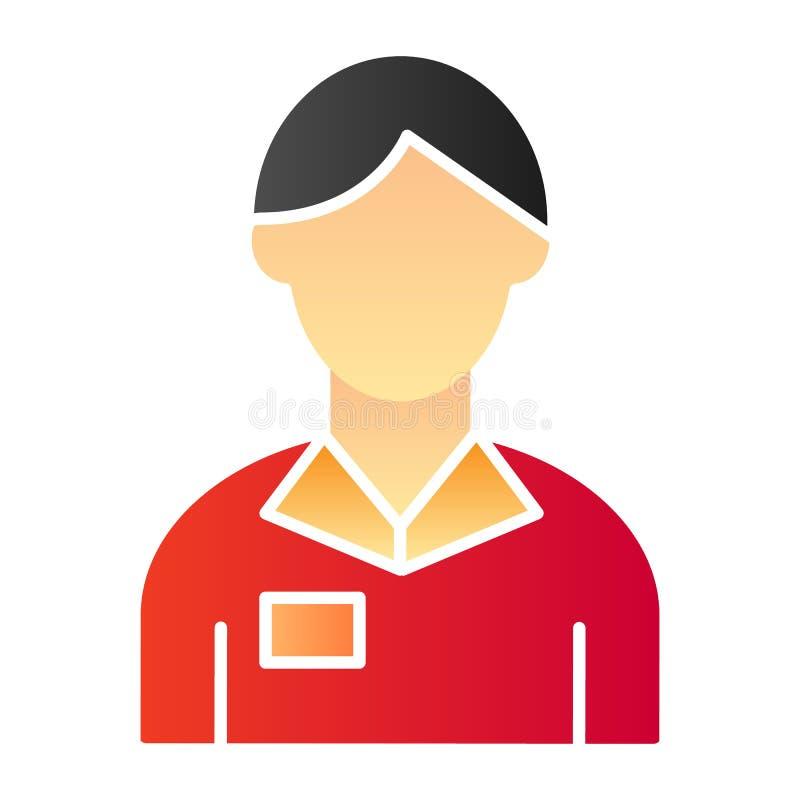 Pracownika mężczyzny mieszkania ikona Bankowa koloru ikony w modnym mieszkanie stylu Obrachunkowego kierownika gradientu stylu pr ilustracja wektor
