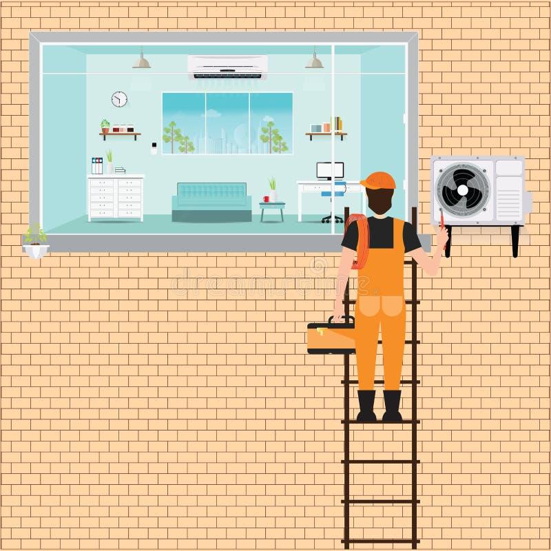 Pracownika mężczyzna wspinaczkowa drabina naprawy powietrza conditioner ilustracji