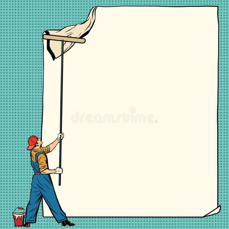 Pracownika malarz wtyka białego plakat ilustracji