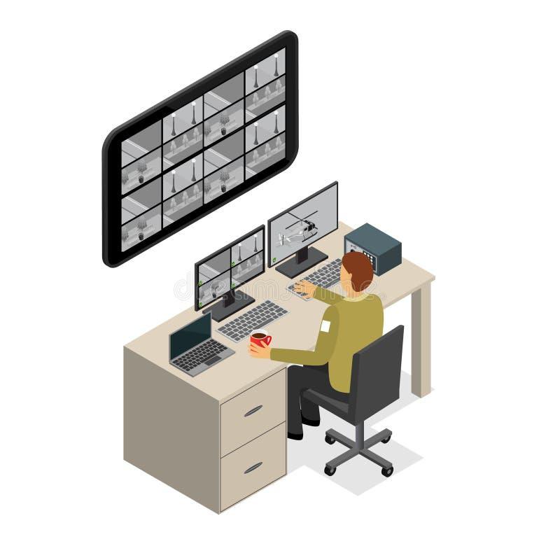 Pracownika Ochrony monitorowanie usługa Isometric widok wektor ilustracji