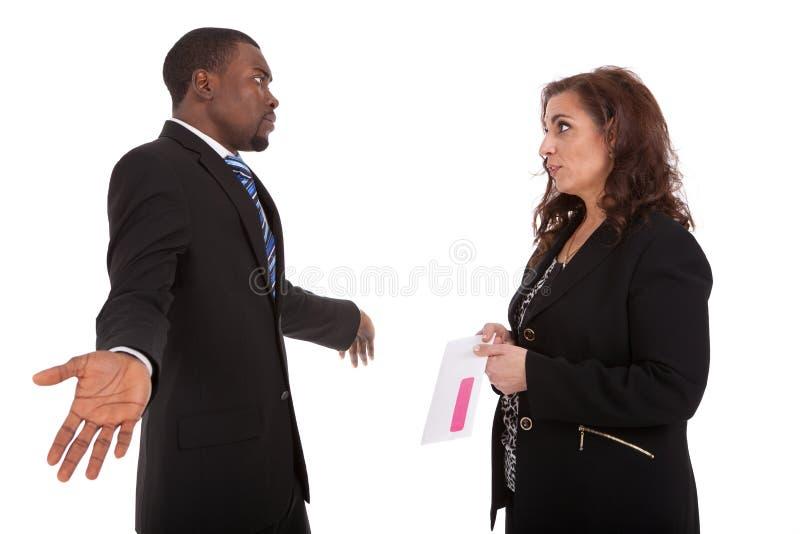 pracownika ostrzału hr zwolnienie z pracy kierownika różowy ślizganie zdjęcia royalty free