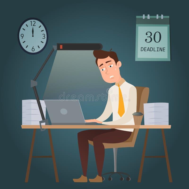 Pracownika postać z kreskówki mężczyzna pracuje na ostatecznym terminie ilustracji