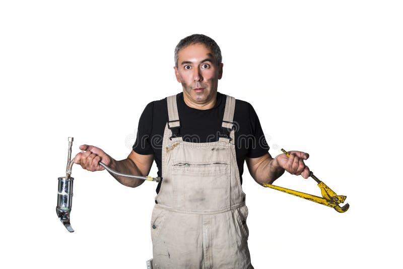 Pracownika specjalisty hydraulik, inżynier lub konstruktor na białym tle, zdjęcia royalty free