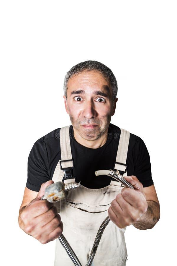Pracownika specjalisty hydraulik, inżynier lub konstruktor na białym tle, fotografia royalty free