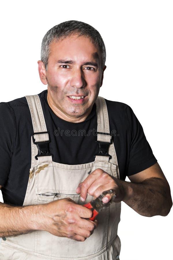Pracownika specjalisty hydraulik, inżynier lub konstruktor na białym tle, zdjęcia stock