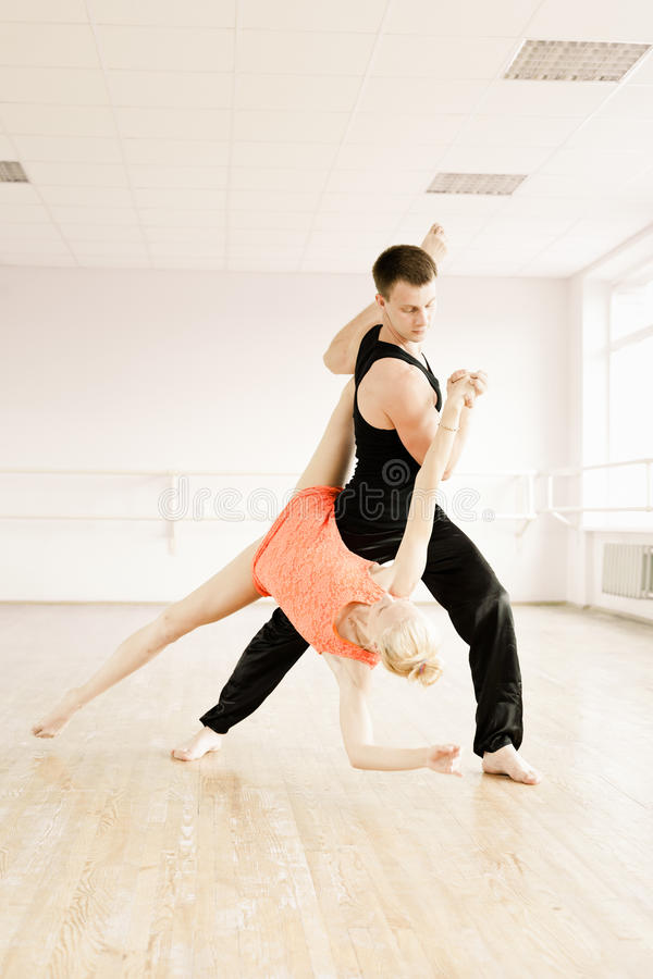 Practice In Aerobics Room Royalty Free Stock Images