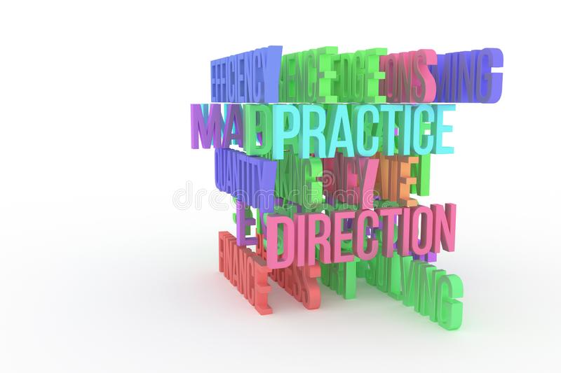 Practice, Direction, business conceptual colorful 3D rendered words. Caption, illustration, backdrop & style. Practice, Direction, business conceptual colorful royalty free illustration