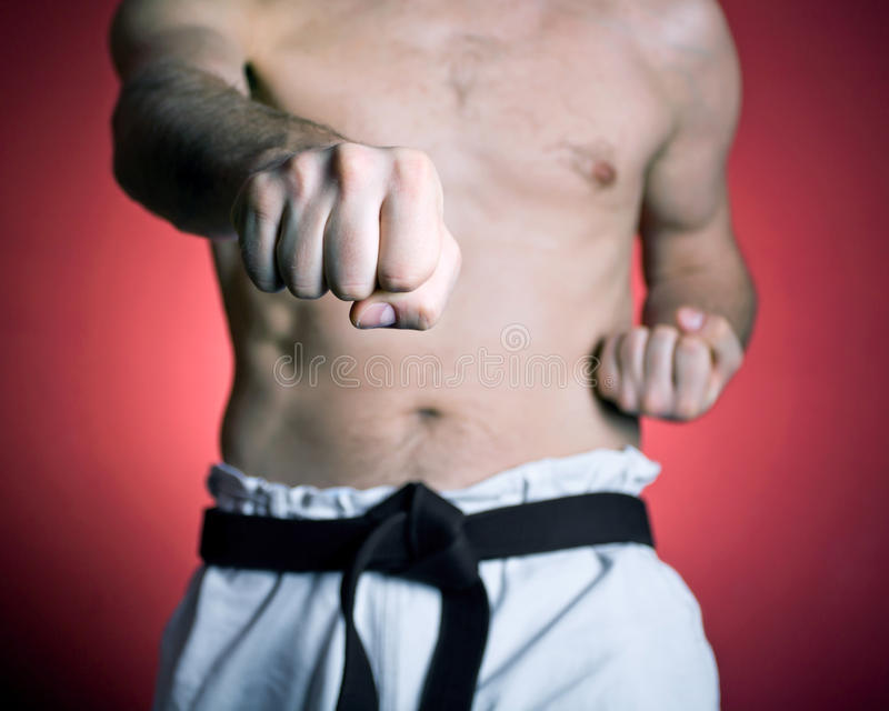 Practice karate punch, sport and fitness stock photos