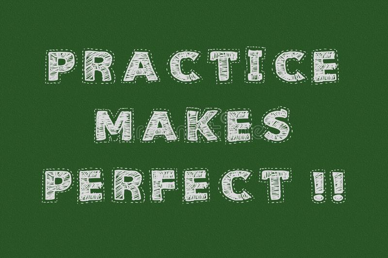 Practice makes perfect chalkboard typography motivational concept for web page stock illustration