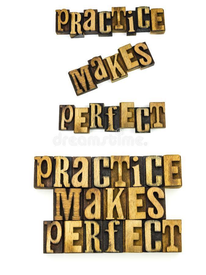 Practice makes perfect letterpress stock photo