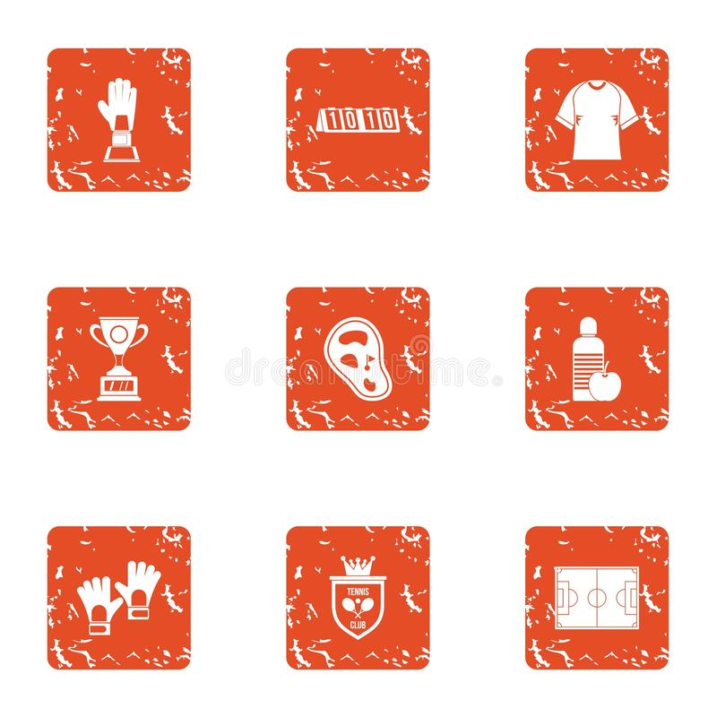 Practice session icons set, grunge style. Practice session icons set. Grunge set of 9 practice session vector icons for web isolated on white background vector illustration