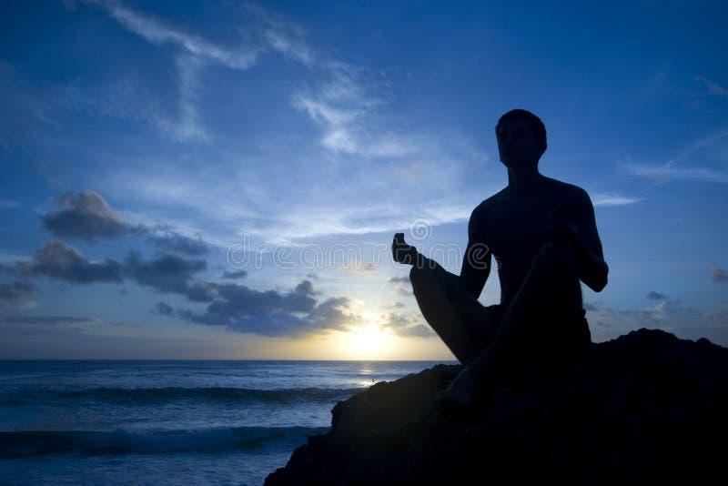 Practicing joga stock image