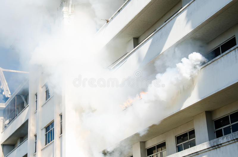Practicing plan fire protection and control royalty free stock photography