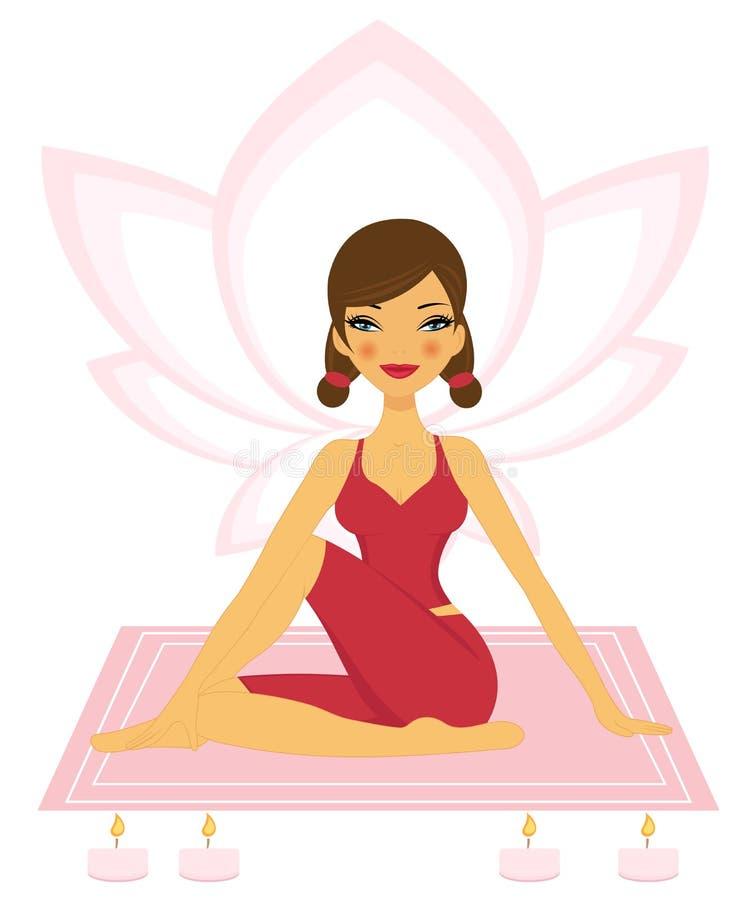 Practicing Yoga royalty free illustration