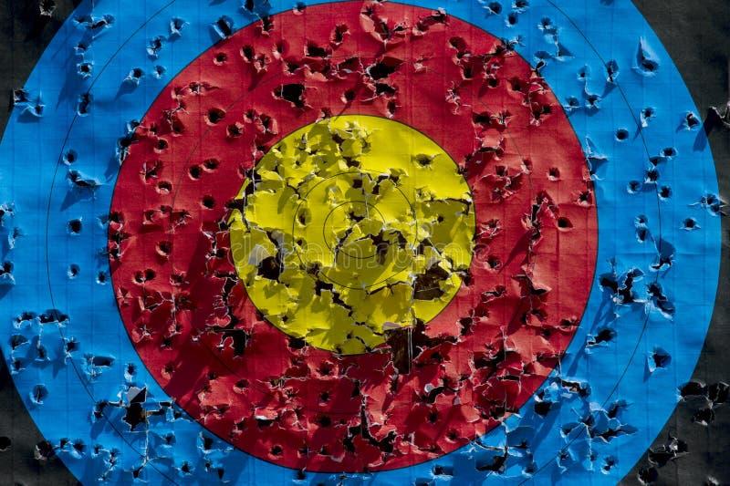 Practique la blanco usada para tirar con los agujeros de bala en ?l, entonado fotografía de archivo libre de regalías