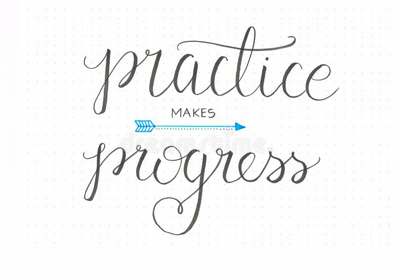 `Practise makes progress` honest hand lettering saying in black with an arrow stock illustration