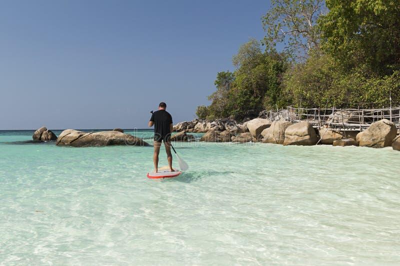 Practise paddle surf royalty free stock image