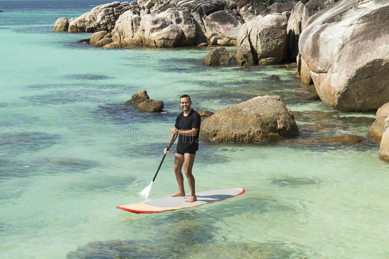 Practise paddle surf stock photos