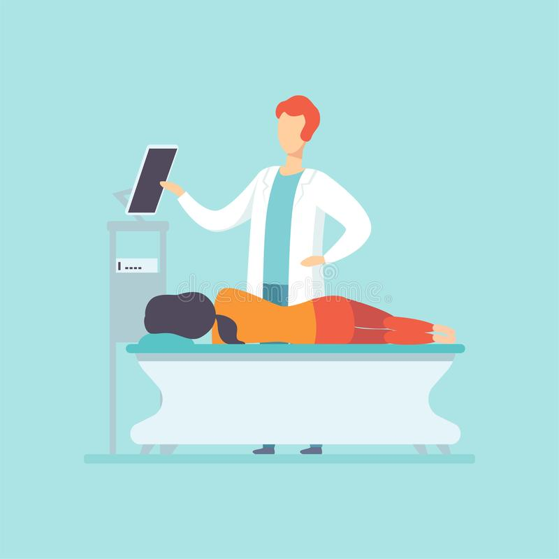 Practitioner doctor examining female patient lying on the bed, medical treatment and healthcare concept vector royalty free illustration