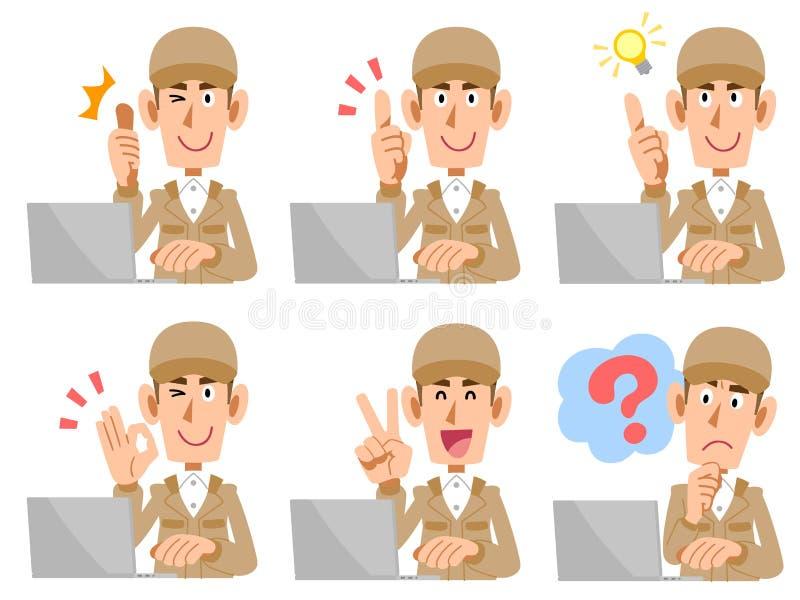 Pracujący personel działać laptop Ustawiającego wyrażenie i gest ilustracja wektor