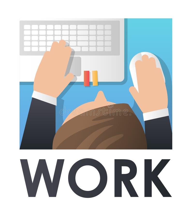 Pracujący proces Mężczyzna praca z komputerem Pojęcie strona internetowa, sztandar, prezentacja, ogólnospołeczni środki royalty ilustracja
