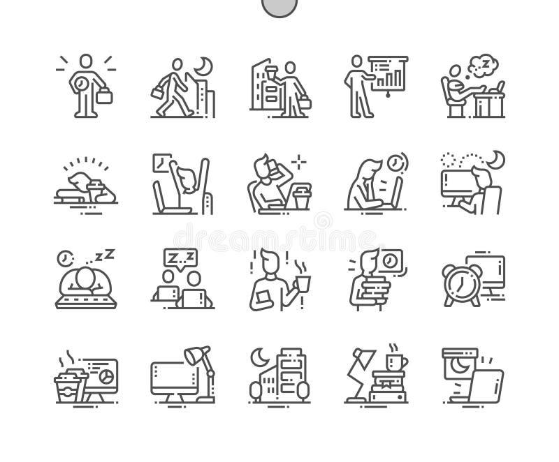 Pracująca Opóźniona Wykonująca ręcznie piksla Perfect wektoru ikon 30 Cienka Kreskowa 2x siatka dla sieci Apps i grafika royalty ilustracja