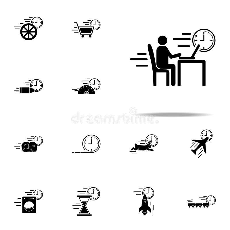 pracująca proces prędkości ikona Przyśpiesza ikony ogólnoludzkiego ustawiającego dla sieci i wiszącej ozdoby ilustracji