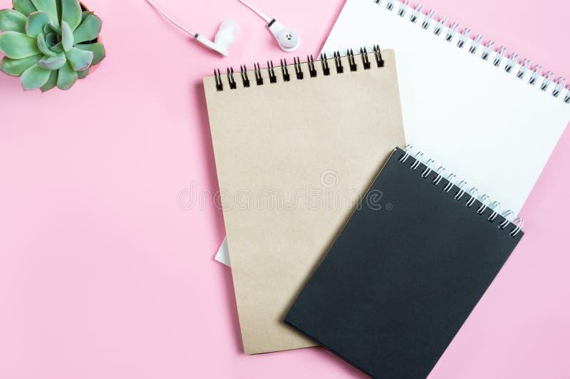 Pracująca przestrzeń: notepads, hełmofony i tłustoszowaty kwiat na różowym tle, Minimalizm, Lay, odgórny widok, kopii przestrzeń zdjęcie stock