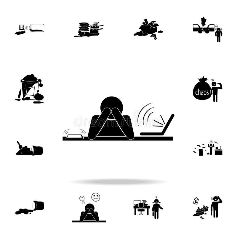 pracująca zmęczenie ikona Szczegółowy set chaosu elementu ikony Premia graficzny projekt Jeden inkasowe ikony dla stron interneto royalty ilustracja