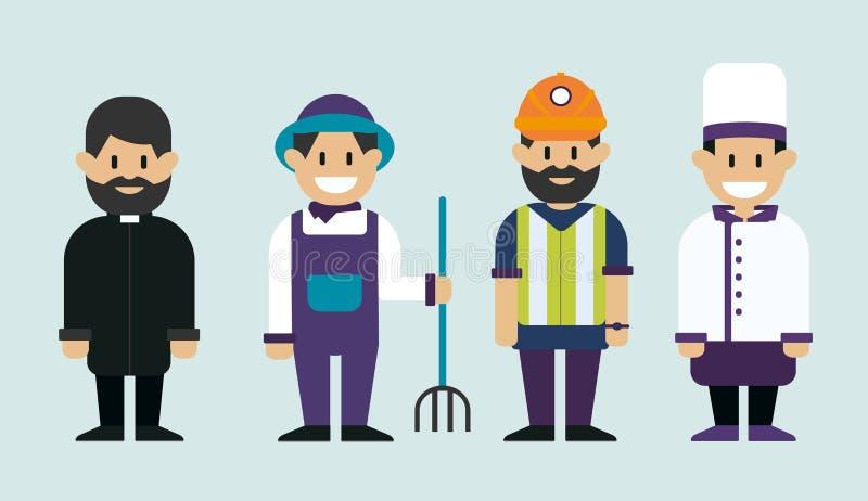 Pracującego mężczyzna, księdza katolickiego, rolnika i szefa kuchni kucharz, Mężczyzna różni zawody Wektorowa płaska projekt ilus royalty ilustracja