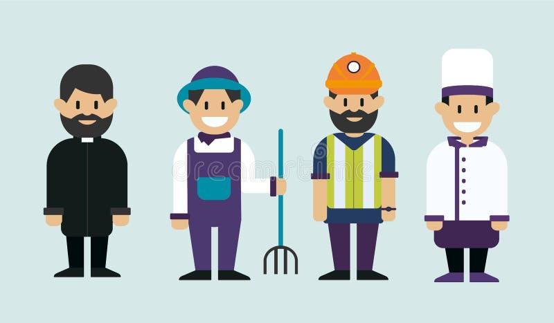 Pracującego mężczyzna, księdza katolickiego, rolnika i szefa kuchni kucharz, Mężczyzna różni zawody Wektorowa płaska projekt ilus ilustracja wektor