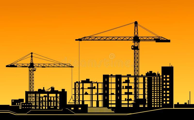 Pracujący żurawie na budowie ilustracja wektor