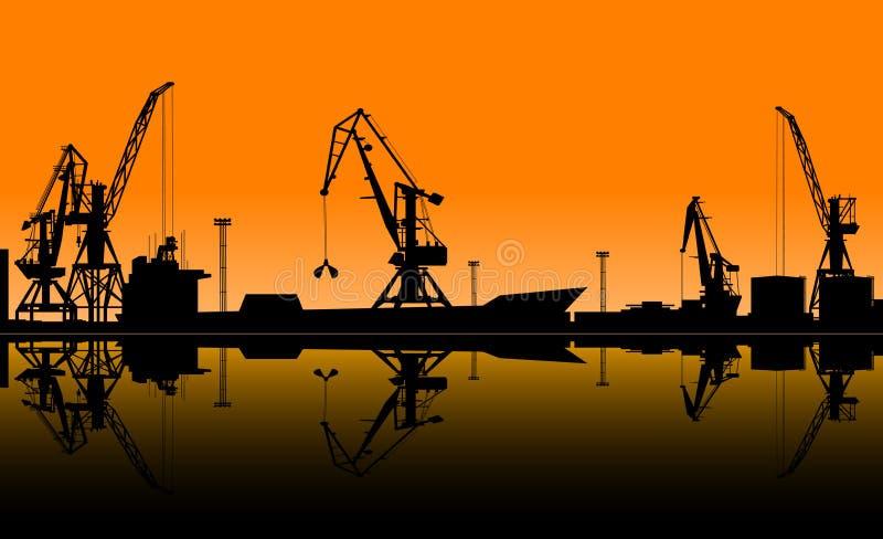 Pracujący żurawie rozładowywają ładunek w porcie morskim royalty ilustracja