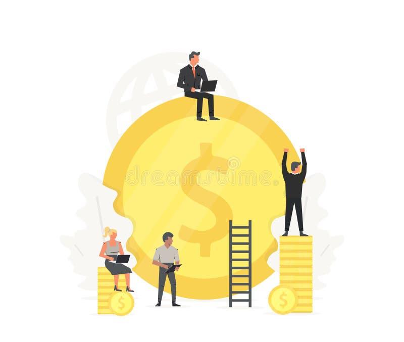 Pracujący ludzi czyścą up złocistą monetę i budują Gospodarki i oszczędzania pieniądze ilustracja Biznesowe prezentacje na bielu royalty ilustracja