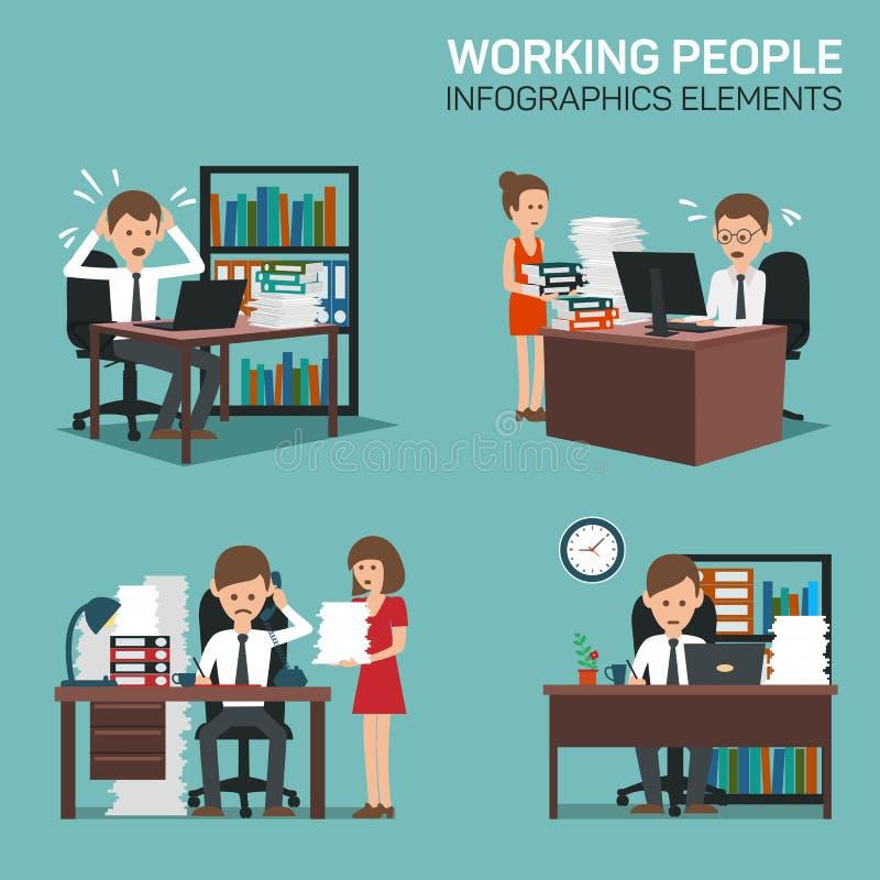 Pracujący Ludzi Infographic elementów ilustracja wektor