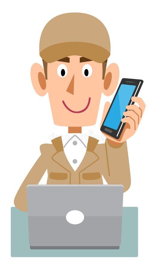 Pracujący mężczyzna jest ubranym beżowych prac ubrania działać komputer podczas gdy opowiadający na telefonie komórkowym royalty ilustracja