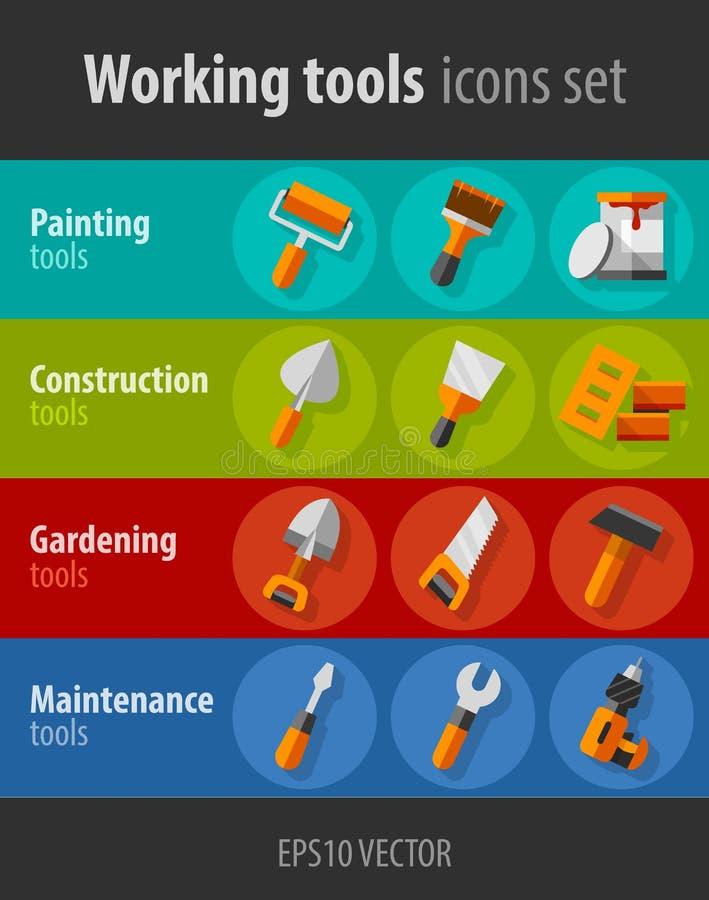 Pracujący narzędzia dla budowy i utrzymania płaskich ikon ustawiać royalty ilustracja