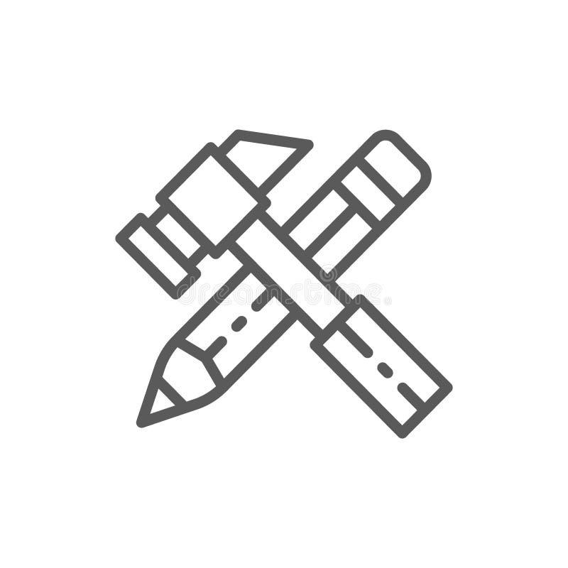 Pracujący narzędzia, młot z ołówek linii ikoną ilustracja wektor