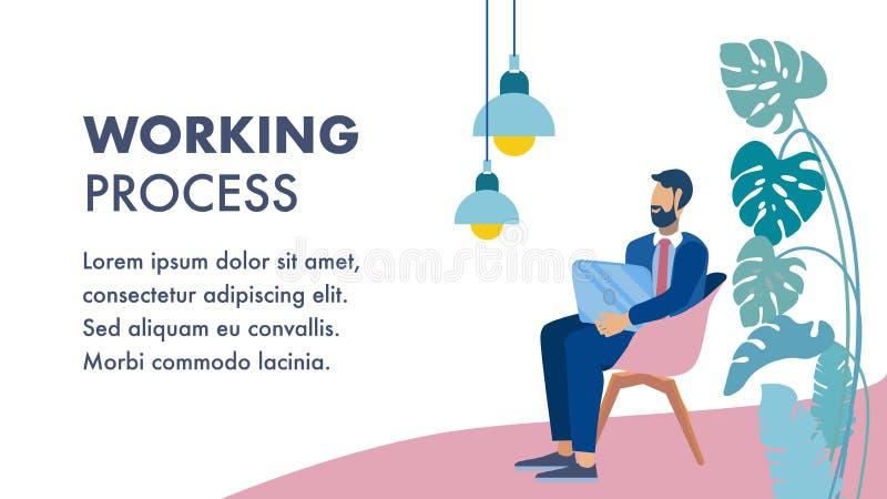 Pracujący proces, Biznesowy hol strefy mieszkania sztandar ilustracja wektor