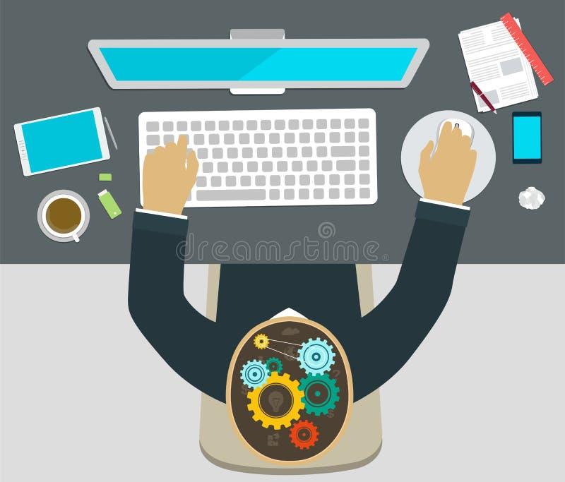 Pracujący przy komputerem, brainstorming royalty ilustracja