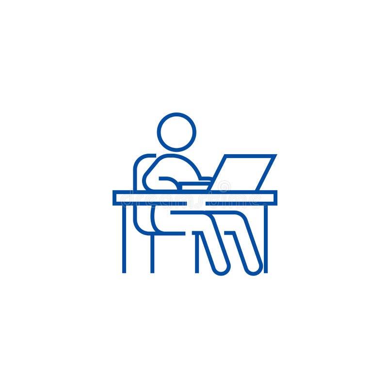 Pracujący przy stołem, miejsce pracy, zarządzanie ikony kreskowy pojęcie Pracujący przy stołem, miejsce pracy, zarządzanie płaski ilustracji