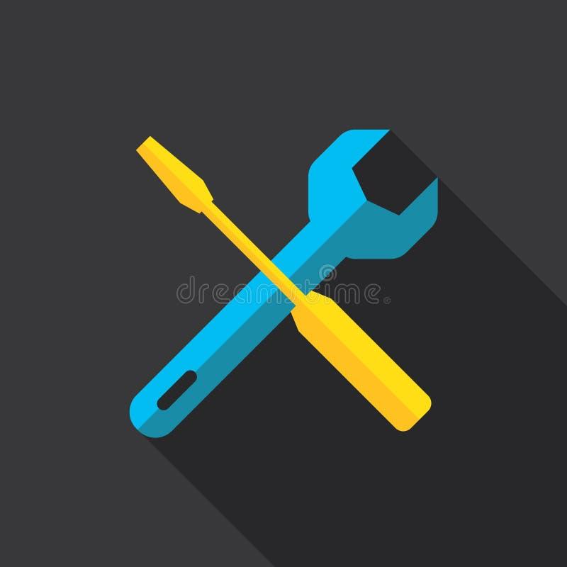 Pracujących narzędzi ikony płaski projekt ilustracji